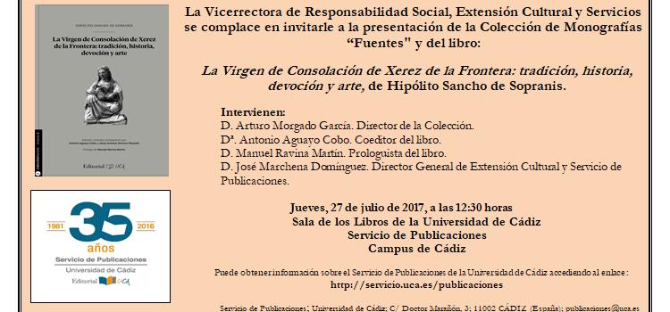 La editorial UCA presenta mañana la nueva colección 'Fuentes para la Historia de Cádiz y su Provincia'