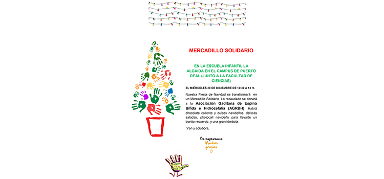 La Escuela Infantil 'La Algaida' organiza el miércoles 20 un Mercadillo Navideño en el Campus de Puerto Real