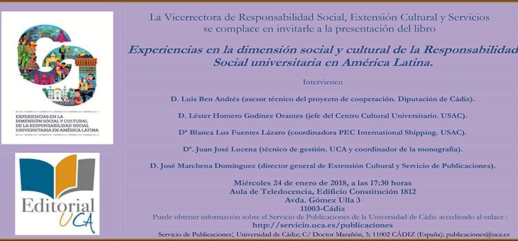 Presentación de 'Experiencias en la dimensión social y cultural de la Responsabilidad Social universitaria en América Latina'