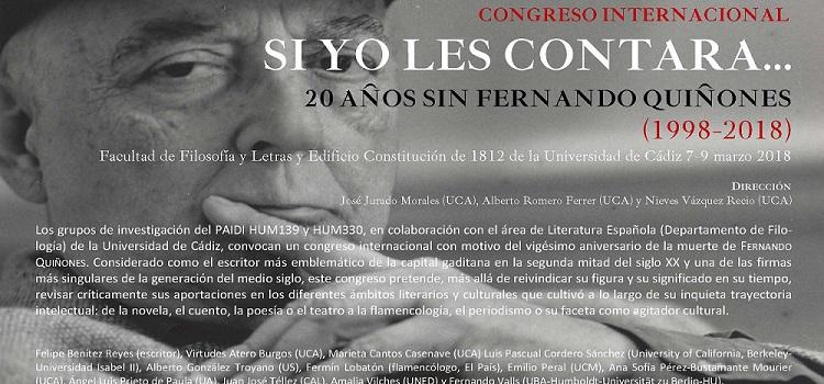 Congreso Internacional 'Si yo les contara…20 años sin Fernando Quiñones (1998-2018)'