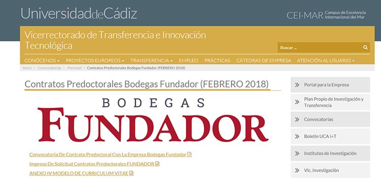 La UCA convoca un contrato predoctoral para tesis industrial en la empresa Bodegas Fundador, S.L.U.