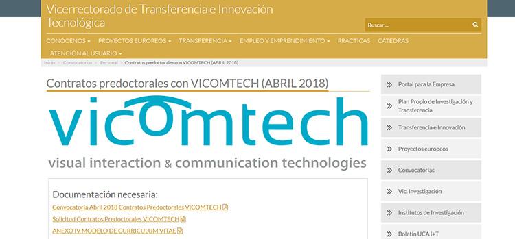 UCA annonce un contrat pré-doctoral pour une thèse industrielle chez VICOMTECH