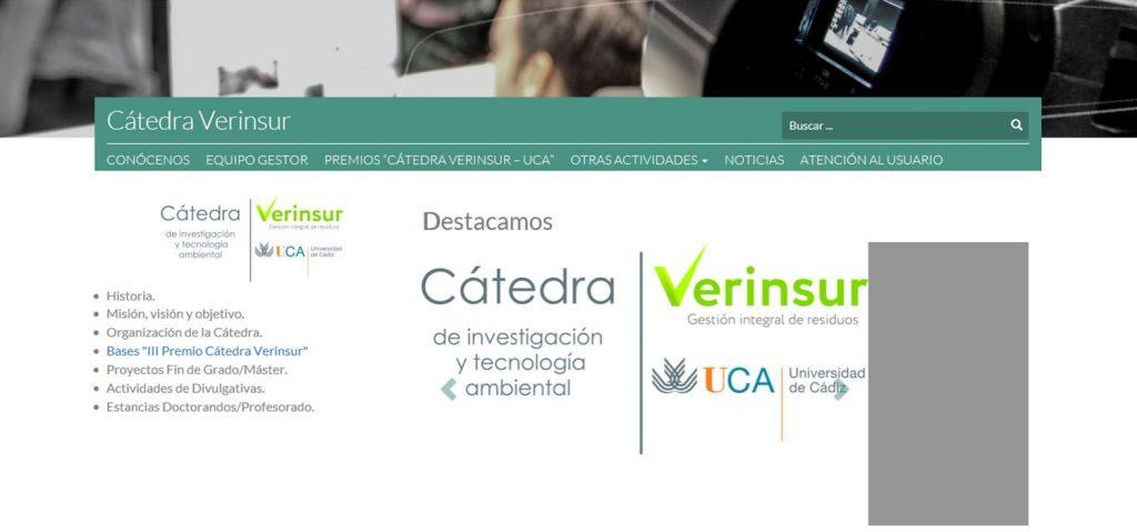 El III Premio Cátedra Verinsur–UCA se entregará en las jornadas sobre innovación en la gestión de residuos