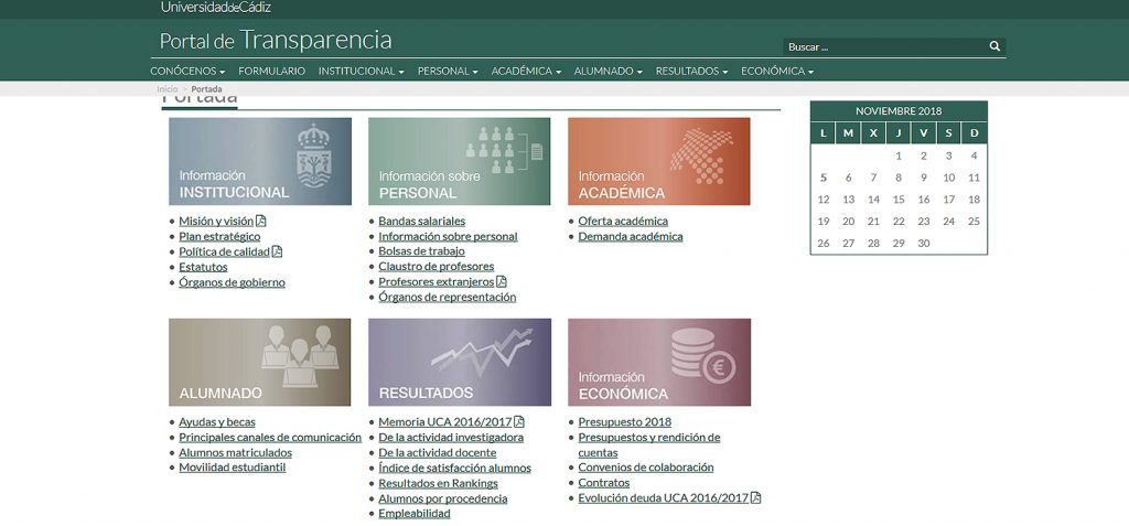 UCA, among the five most transparent universities in Spain