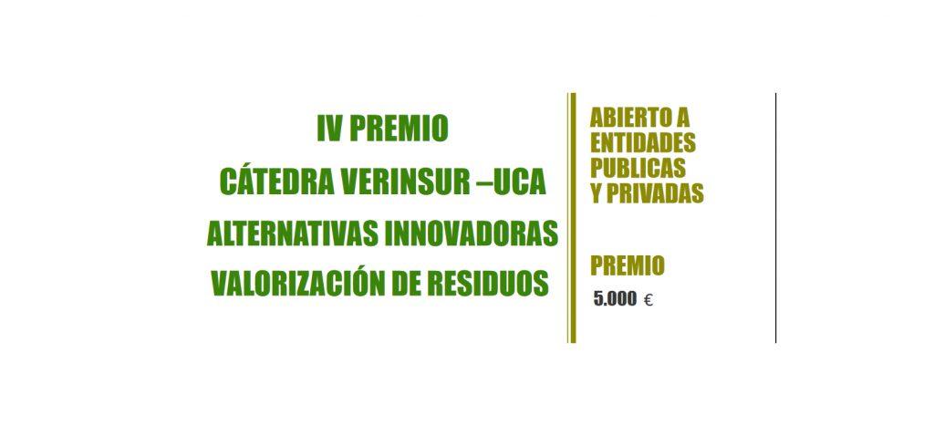 La Cátedra Verinsur–UCA convoca el IV Premio 'Alternativas Innovadoras sobre valorización de residuos'