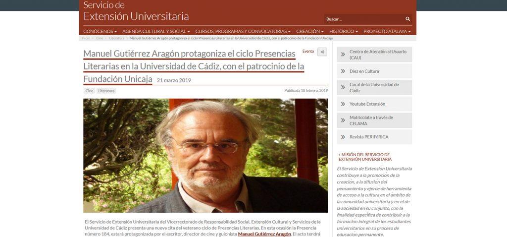 El escritor Manuel Gutiérrez Aragón protagoniza las próximas Presencias Literarias