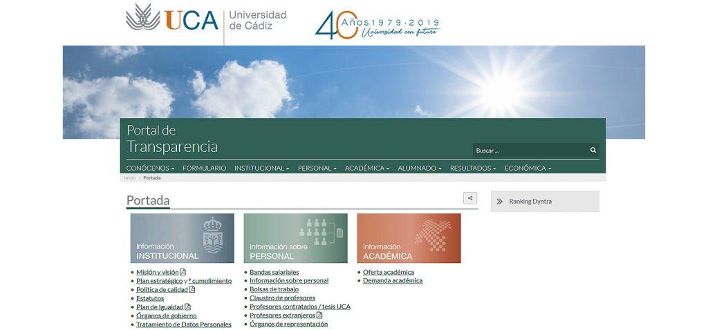 La UCA alcanza el tercer puesto del ranking de transparencia de las universidades españolas