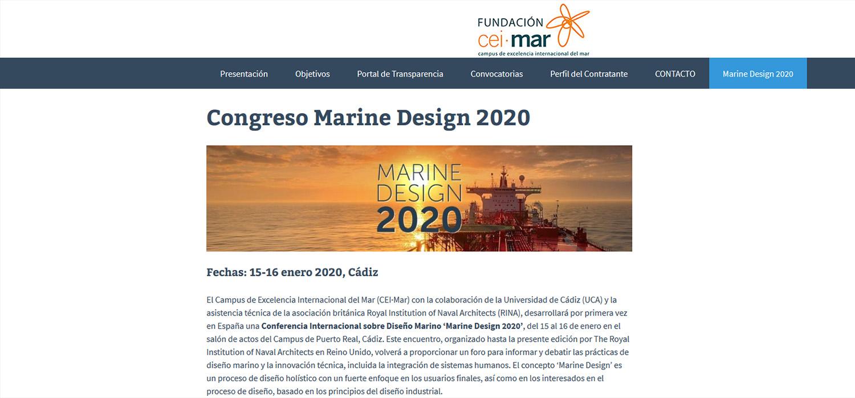 CEI·Mar celebrará en Cádiz la conferencia internacional 'Marine Design 2020' el próximo mes de enero