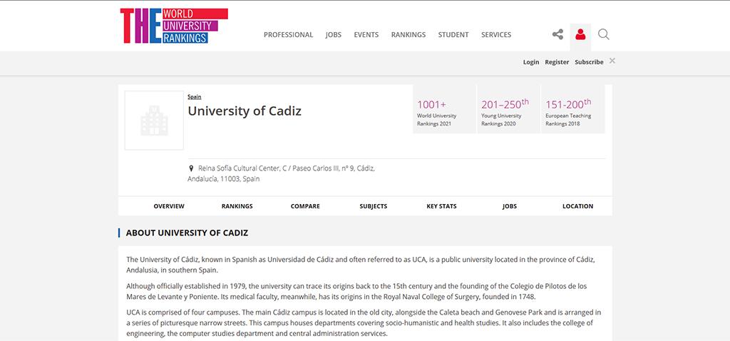 La Universidad de Cádiz aparece por primera vez en el Ranking mundial de universidades jóvenes 'THE 2020'