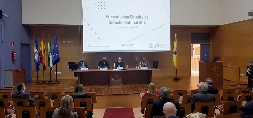 UCA, Colegio de Notarios de Andalucía y Fundación Æquitas presentan la Cátedra de Derecho Notarial en Jerez