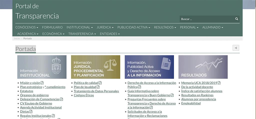 La Universidad de Cádiz se coloca en el sexto lugar entre las universidades más transparentes de España