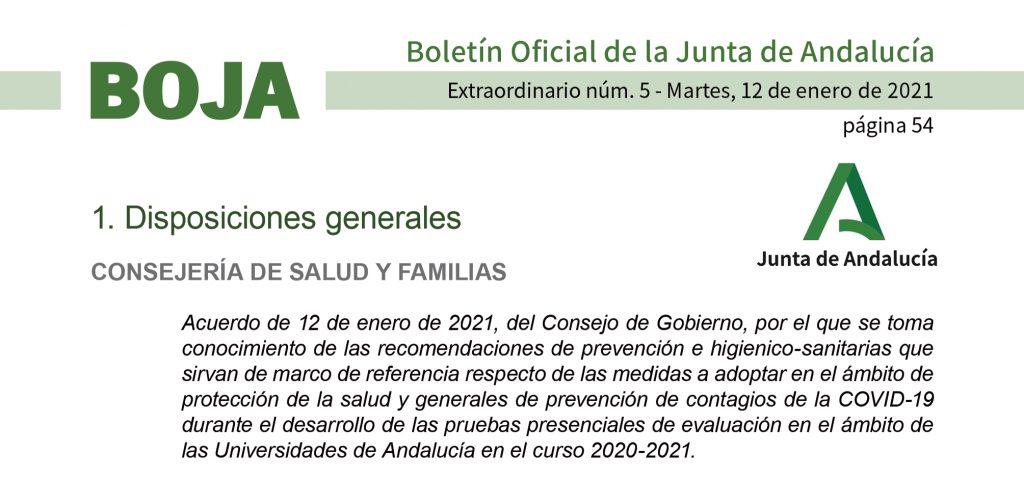 El BOJA publica la regulación del Ejecutivo autonómico para la realización de exámenes presenciales en las universidades andaluzas