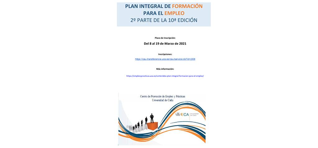 Abierto el plazo de inscripción para la 2ª parte del X Plan Integral de Formación para el Empleo de la UCA