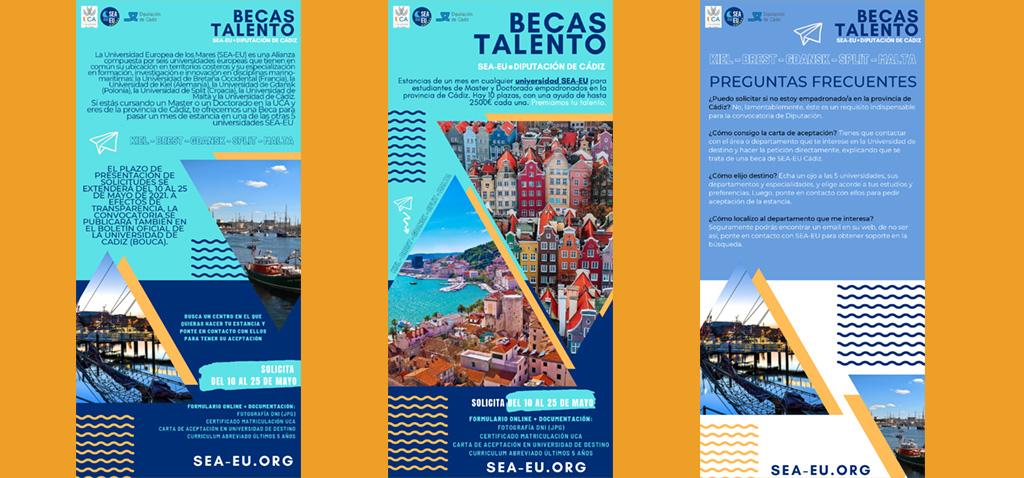 Abierto plazo de becas 'Talento' de máster y doctorado UCA para estancias en universidades de la alianza europea SEA-EU