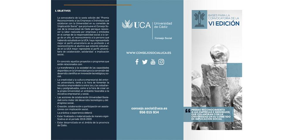 El Consejo Social de la UCA convoca el VI Premio a la Implicación Social